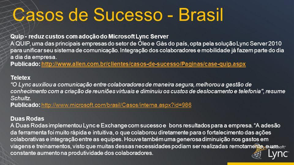 Casos de Sucesso - Brasil Quip - reduz custos com adoção do Microsoft Lync Server A QUIP, uma das principais empresas do setor de Óleo e Gás do país,