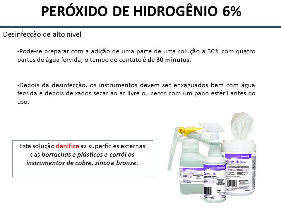 ORTOFTALALDEÍDO Desinfecção de alto nível Atividade antimicrobiana – atividade superior para micobactéria quando comparado ao glutaraldeído – Concentração de uso: 0,55% – Temperatura ambiente PONTOS POSITIVOS: - Ação rápida (12 a 20 minutos) - Não requer ativação - Odor insignificante - Excelente compatibilidade com os materiais - Não coagula sangue ou fixa matéria orgânica PONTOS NEGATIVOS - Mancha pele, membrana mucosa, roupas - Mais caro que glutaraldeído - Irritação ocular ao contato - Atividade esporicida lenta - Exposições repetidas podem causar alergia