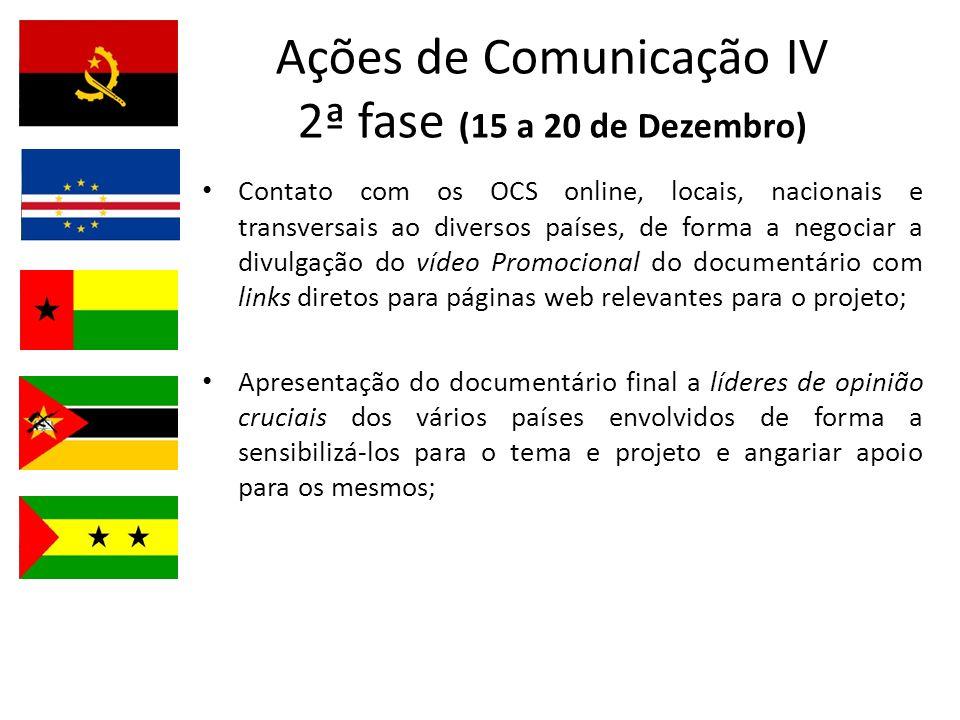 Ações de Comunicação IV 2ª fase (15 a 20 de Dezembro) Contato com os OCS online, locais, nacionais e transversais ao diversos países, de forma a negoc
