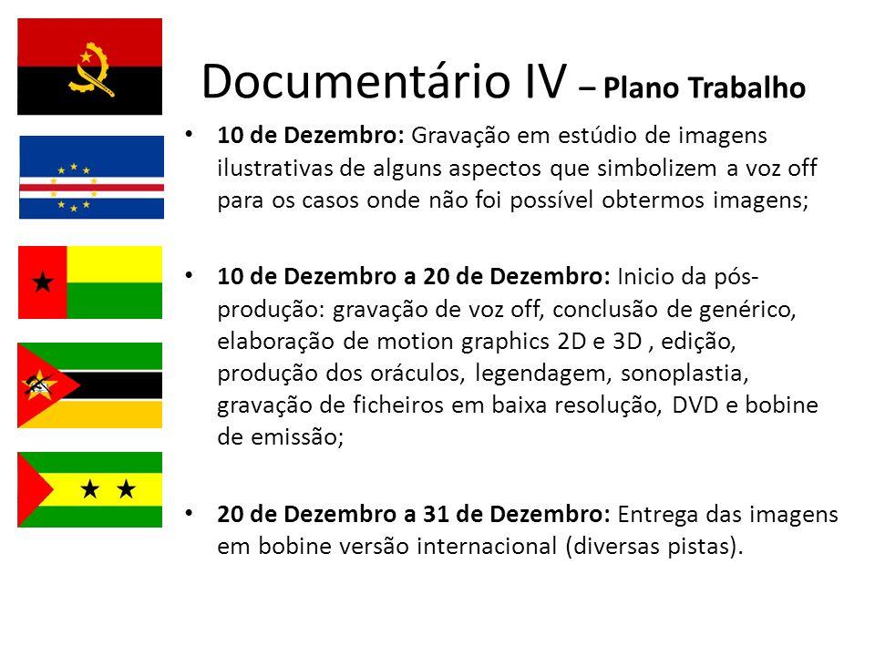 Documentário IV – Plano Trabalho 10 de Dezembro: Gravação em estúdio de imagens ilustrativas de alguns aspectos que simbolizem a voz off para os casos
