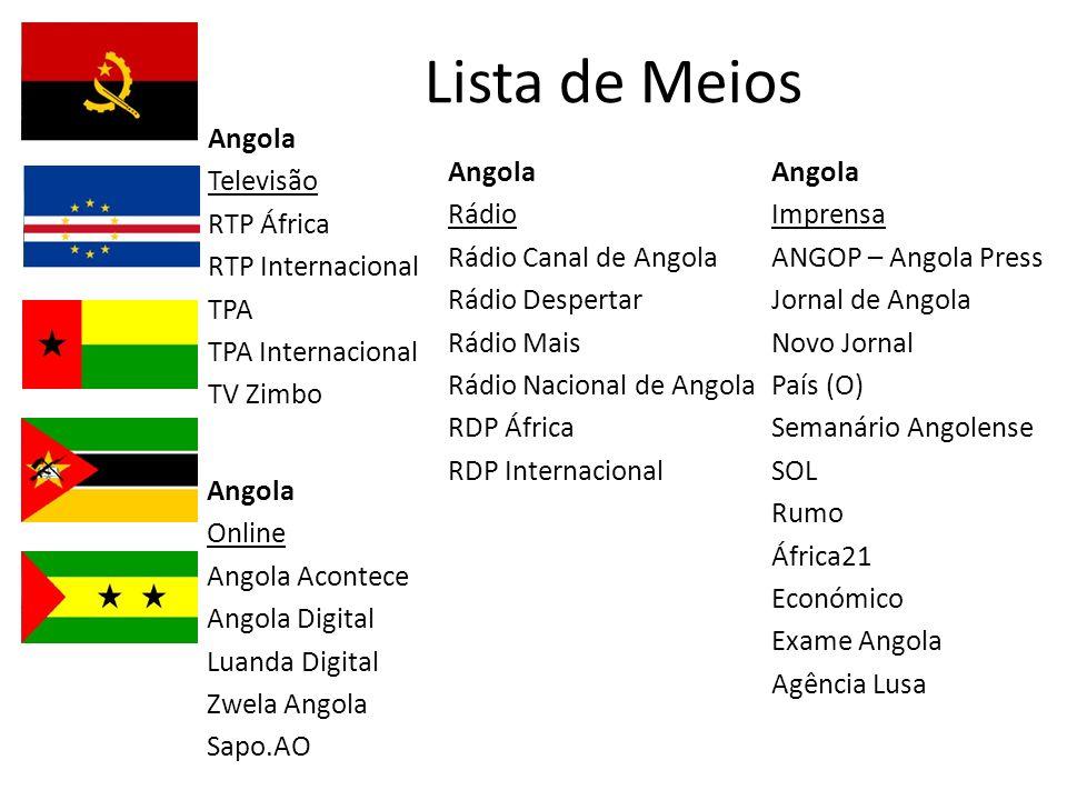 Lista de Meios Angola Televisão RTP África RTP Internacional TPA TPA Internacional TV Zimbo Angola Rádio Rádio Canal de Angola Rádio Despertar Rádio M