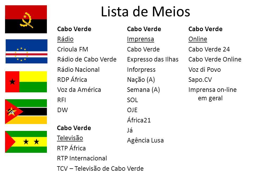 Lista de Meios Cabo Verde Televisão RTP África RTP Internacional TCV – Televisão de Cabo Verde Cabo Verde Rádio Crioula FM Rádio de Cabo Verde Rádio N