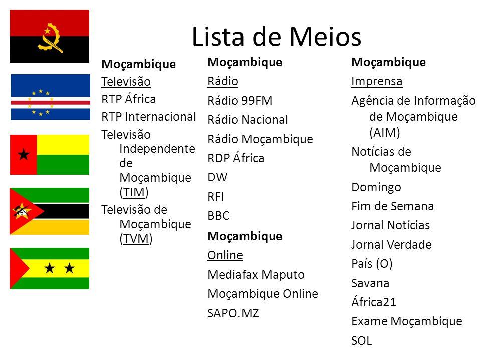 Lista de Meios Moçambique Televisão RTP África RTP Internacional Televisão Independente de Moçambique (TIM) Televisão de Moçambique (TVM) Moçambique Rádio Rádio 99FM Rádio Nacional Rádio Moçambique RDP África DW RFI BBC Moçambique Imprensa Agência de Informação de Moçambique (AIM) Notícias de Moçambique Domingo Fim de Semana Jornal Notícias Jornal Verdade País (O) Savana África21 Exame Moçambique SOL Moçambique Online Mediafax Maputo Moçambique Online SAPO.MZ
