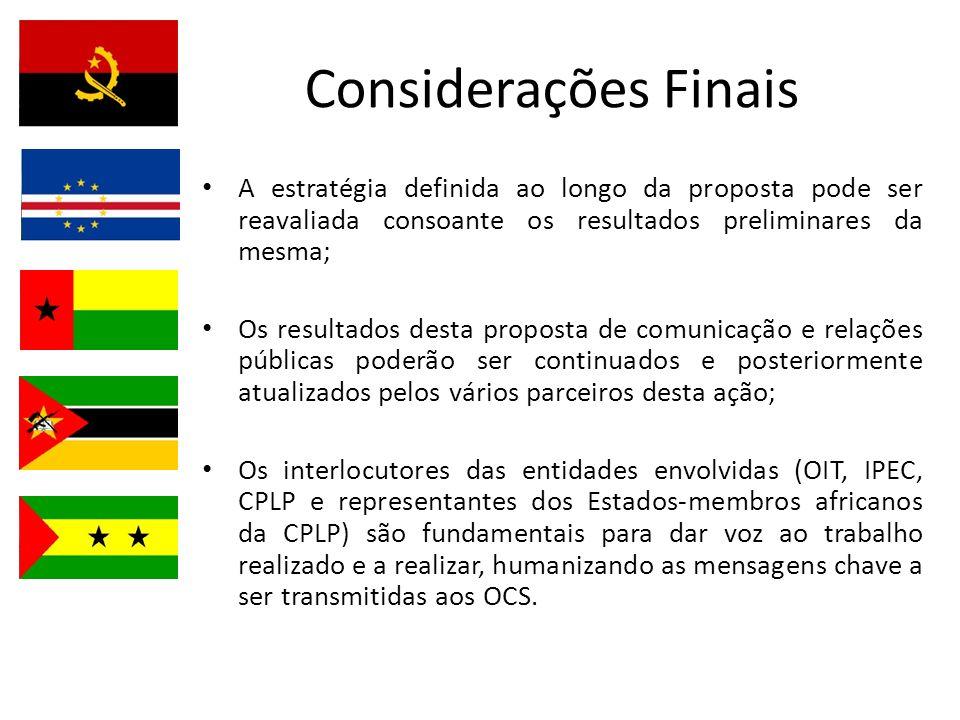 Considerações Finais A estratégia definida ao longo da proposta pode ser reavaliada consoante os resultados preliminares da mesma; Os resultados desta