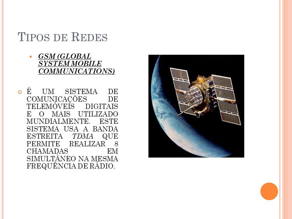 T IPOS DE R EDES GSM (GLOBAL SYSTEM MOBILE COMMUNICATIONS) É UM SISTEMA DE COMUNICAÇÕES DE TELEMÓVEIS DIGITAIS E O MAIS UTILIZADO MUNDIALMENTE. ESTE S