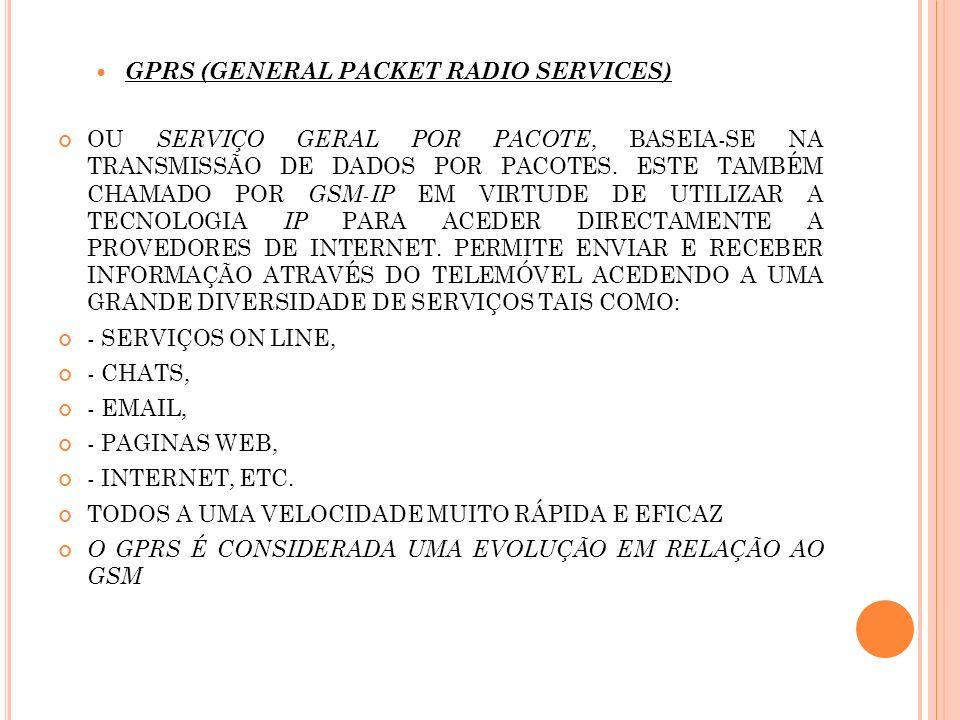 GPRS (GENERAL PACKET RADIO SERVICES) OU SERVIÇO GERAL POR PACOTE, BASEIA-SE NA TRANSMISSÃO DE DADOS POR PACOTES. ESTE TAMBÉM CHAMADO POR GSM-IP EM VIR