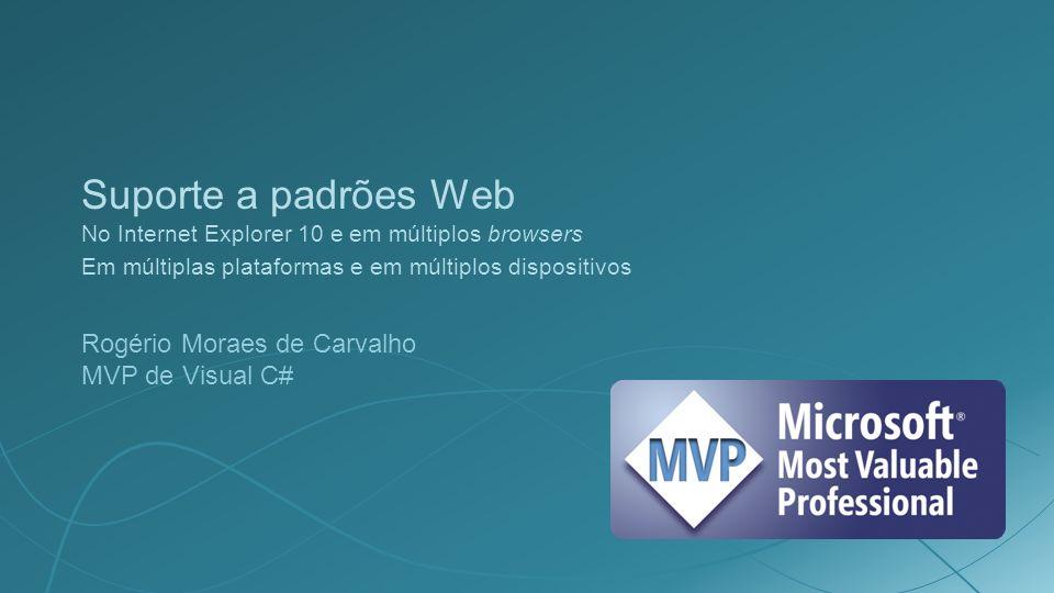 Suporte a padrões Web No Internet Explorer 10 e em múltiplos browsers Em múltiplas plataformas e em múltiplos dispositivos Rogério Moraes de Carvalho MVP de Visual C#