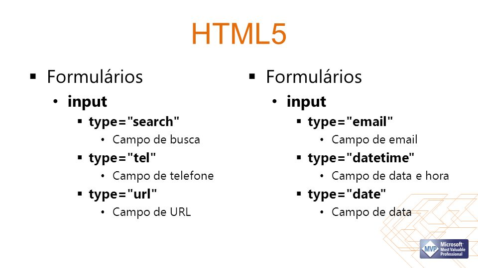 HTML5 Formulários input type= search Campo de busca type= tel Campo de telefone type= url Campo de URL Formulários input type= email Campo de email type= datetime Campo de data e hora type= date Campo de data