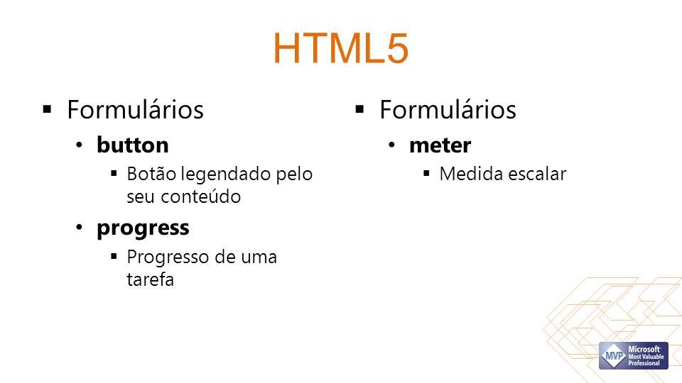 HTML5 Formulários button Botão legendado pelo seu conteúdo progress Progresso de uma tarefa Formulários meter Medida escalar