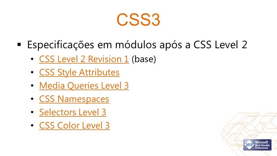 CSS3 Especificações em módulos após a CSS Level 2 CSS Level 2 Revision 1 (base) CSS Level 2 Revision 1 CSS Style Attributes Media Queries Level 3 CSS Namespaces Selectors Level 3 CSS Color Level 3