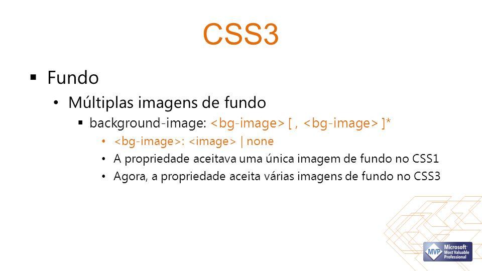 CSS3 Fundo Múltiplas imagens de fundo background-image: [, ]* : | none A propriedade aceitava uma única imagem de fundo no CSS1 Agora, a propriedade aceita várias imagens de fundo no CSS3