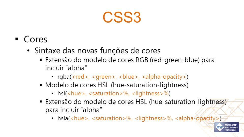 CSS3 Cores Sintaxe das novas funções de cores Extensão do modelo de cores RGB (red-green-blue) para incluir alpha rgba(,,, ) Modelo de cores HSL (hue-saturation-lightness) hsl(, %, %) Extensão do modelo de cores HSL (hue-saturation-lightness) para incluir alpha hsla(, %, %, )