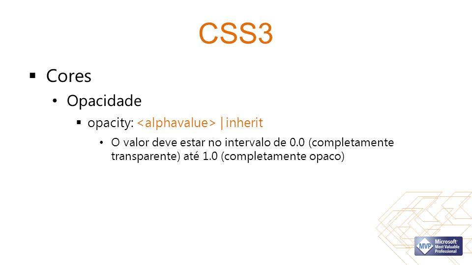 CSS3 Cores Opacidade opacity: | inherit O valor deve estar no intervalo de 0.0 (completamente transparente) até 1.0 (completamente opaco)