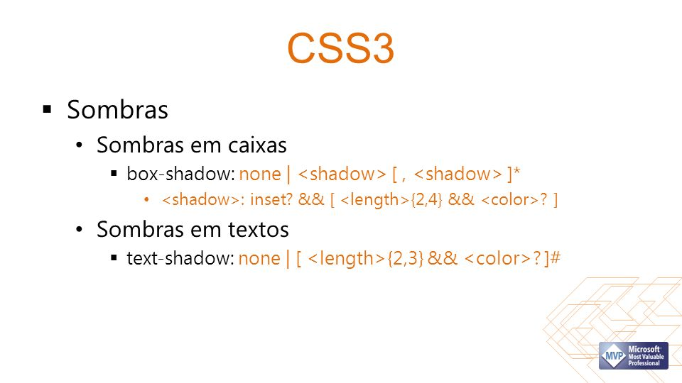 CSS3 Sombras Sombras em caixas box-shadow: none | [, ]* : inset.