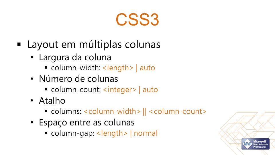 CSS3 Layout em múltiplas colunas Largura da coluna column-width: | auto Número de colunas column-count: | auto Atalho columns: || Espaço entre as colunas column-gap: | normal