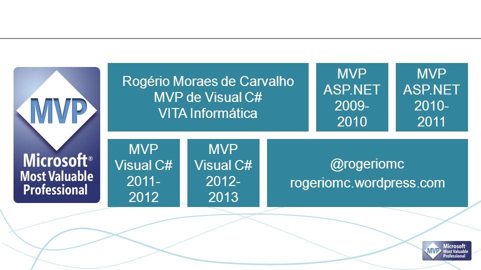 Rogério Moraes de Carvalho MVP de Visual C# VITA Informática @rogeriomc rogeriomc.wordpress.com MVP ASP.NET 2009- 2010 MVP ASP.NET 2010- 2011 MVP Visual C# 2011- 2012 MVP Visual C# 2012- 2013