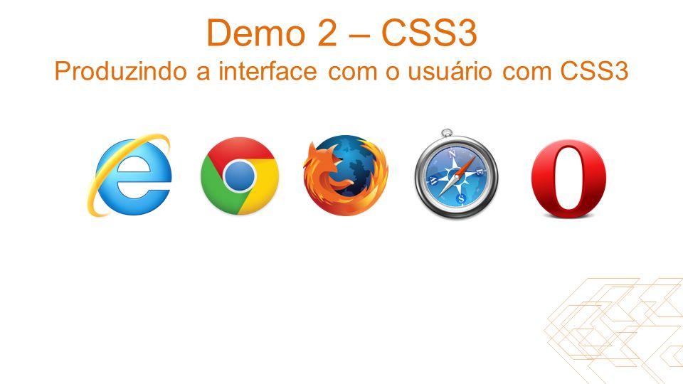 Demo 2 – CSS3 Produzindo a interface com o usuário com CSS3