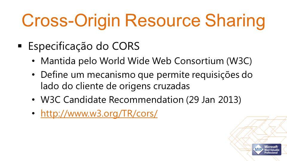 Cross-Origin Resource Sharing Especificação do CORS Mantida pelo World Wide Web Consortium (W3C) Define um mecanismo que permite requisições do lado do cliente de origens cruzadas W3C Candidate Recommendation (29 Jan 2013) http://www.w3.org/TR/cors/