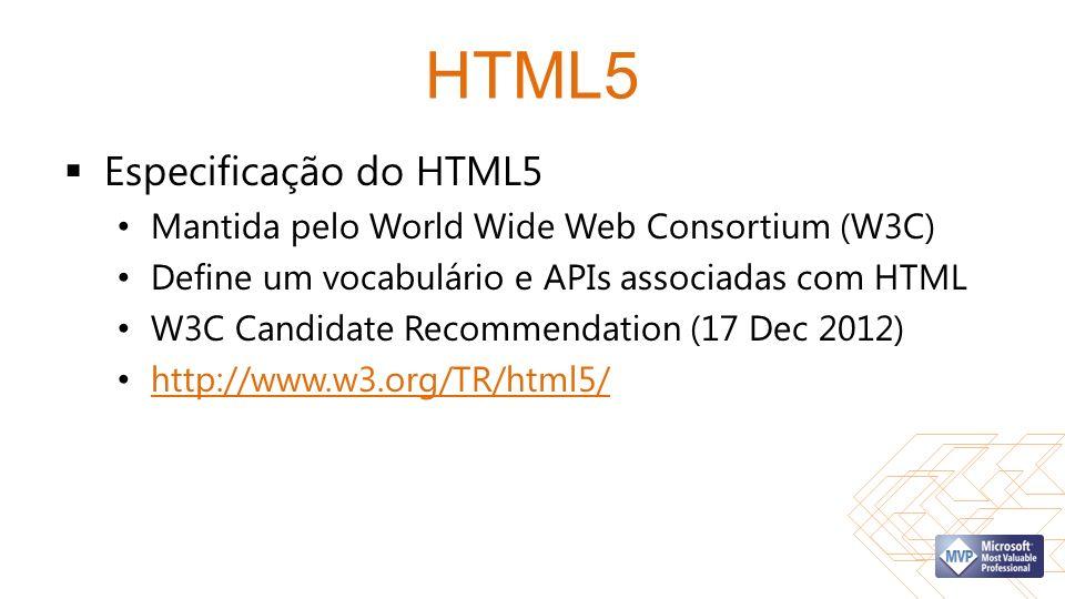 HTML5 Especificação do HTML5 Mantida pelo World Wide Web Consortium (W3C) Define um vocabulário e APIs associadas com HTML W3C Candidate Recommendation (17 Dec 2012) http://www.w3.org/TR/html5/