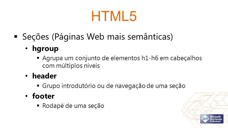 HTML5 Seções (Páginas Web mais semânticas) hgroup Agrupa um conjunto de elementos h1-h6 em cabeçalhos com múltiplos níveis header Grupo introdutório ou de navegação de uma seção footer Rodapé de uma seção