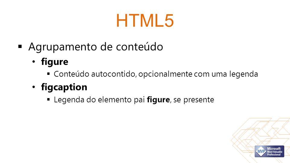 HTML5 Agrupamento de conteúdo figure Conteúdo autocontido, opcionalmente com uma legenda figcaption Legenda do elemento pai figure, se presente