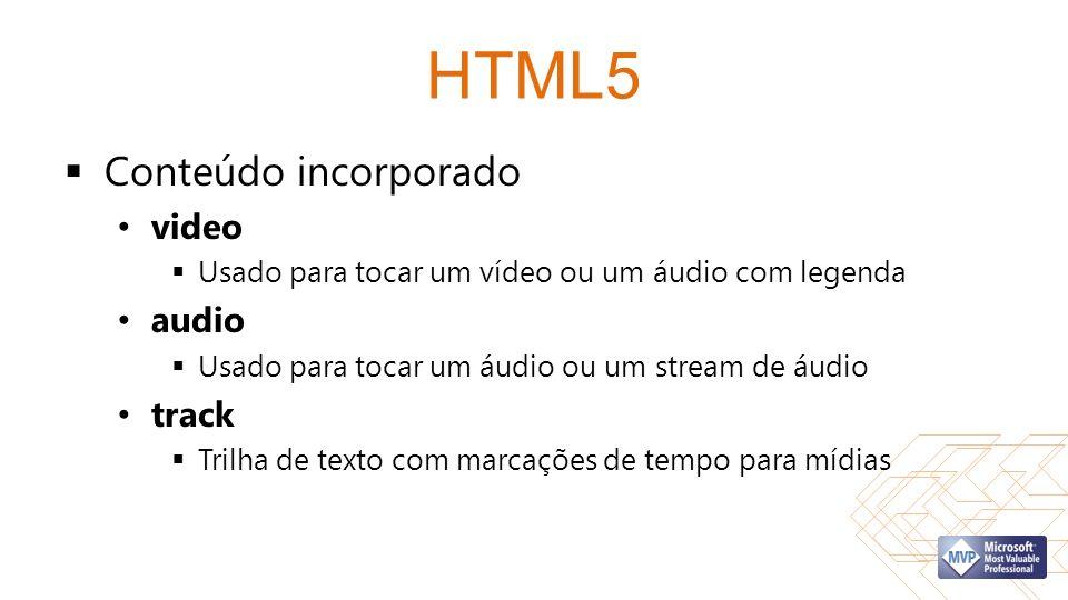 HTML5 Conteúdo incorporado video Usado para tocar um vídeo ou um áudio com legenda audio Usado para tocar um áudio ou um stream de áudio track Trilha de texto com marcações de tempo para mídias