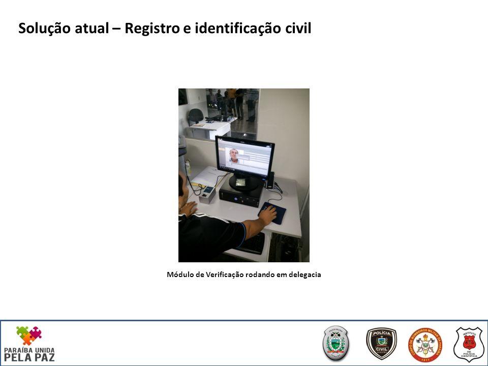 Solução atual – Registro e identificação civil Módulo de Verificação rodando em delegacia