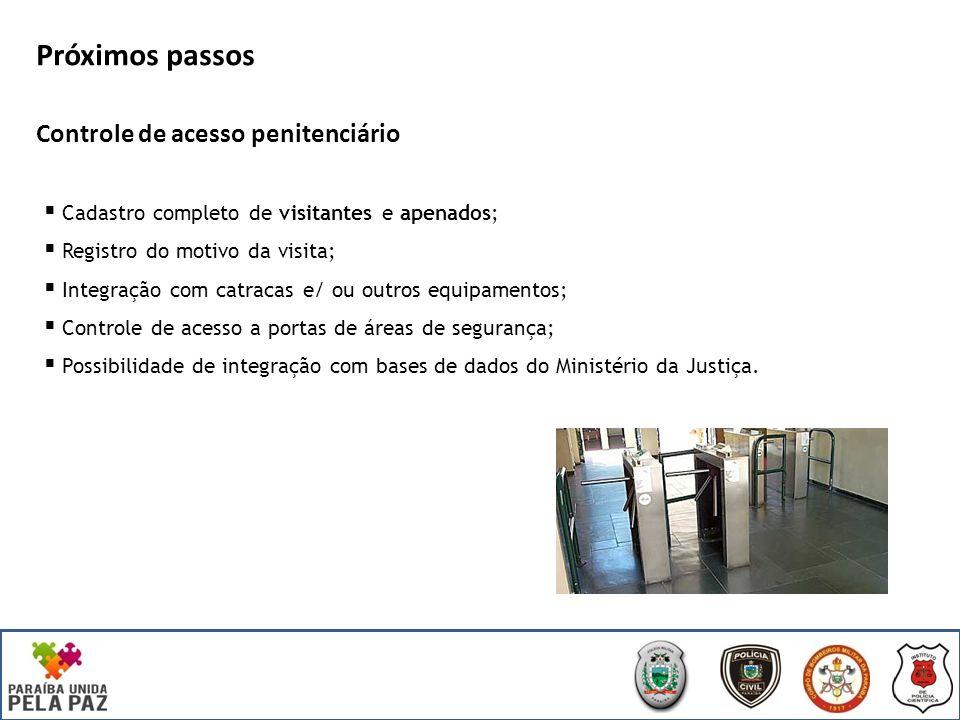 Próximos passos Controle de acesso penitenciário Cadastro completo de visitantes e apenados; Registro do motivo da visita; Integração com catracas e/ ou outros equipamentos; Controle de acesso a portas de áreas de segurança; Possibilidade de integração com bases de dados do Ministério da Justiça.