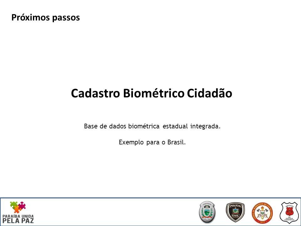 Cadastro Biométrico Cidadão Próximos passos Base de dados biométrica estadual integrada.