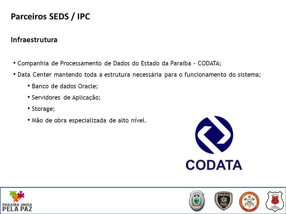 Infraestrutura Companhia de Processamento de Dados do Estado da Paraíba – CODATA; Data Center mantendo toda a estrutura necessária para o funcionamento do sistema; Banco de dados Oracle; Servidores de Aplicação; Storage; Mão de obra especializada de alto nível.