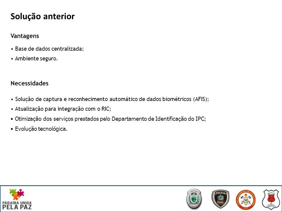 Solução anterior Vantagens Base de dados centralizada; Ambiente seguro.