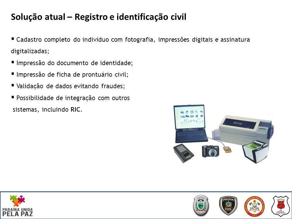 Solução atual – Registro e identificação civil Módulo Doc Coleta de dados biométricos em postos espalhados pelo Estado; Gerenciamento completo do processo de emissão (da solicitação até a entrega): Lotes de emissão; Controle de qualidade; Impressão centralizada.