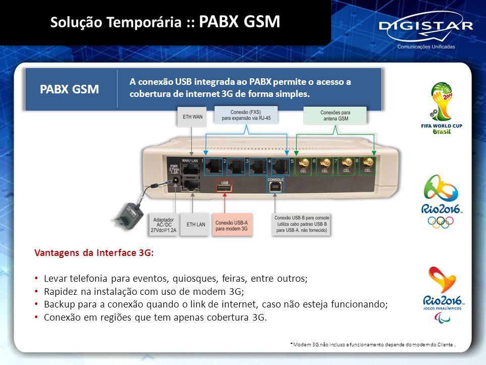 Vantagens da Interface 3G: Levar telefonia para eventos, quiosques, feiras, entre outros; Rapidez na instalação com uso de modem 3G; Backup para a con