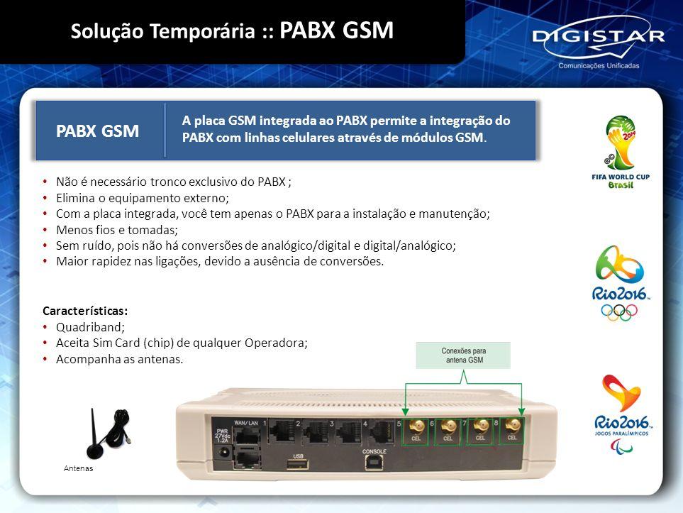 Não é necessário tronco exclusivo do PABX ; Elimina o equipamento externo; Com a placa integrada, você tem apenas o PABX para a instalação e manutençã