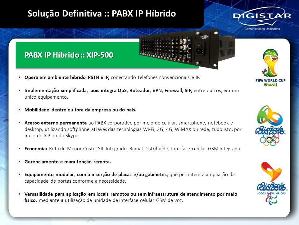 PABX IP Híbrido :: XIP-500 Opera em ambiente híbrido PSTN e IP, conectando telefones convencionais e IP. Implementação simplificada, pois integra QoS,