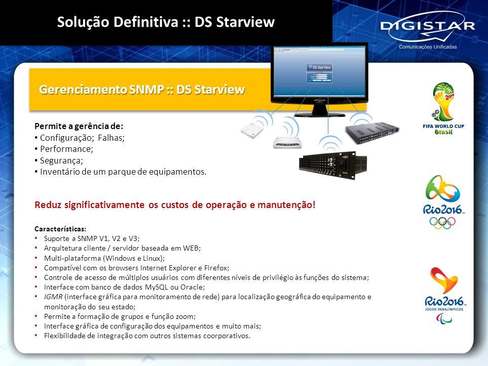 Gerenciamento SNMP :: DS Starview Características: Suporte a SNMP V1, V2 e V3; Arquitetura cliente / servidor baseada em WEB; Multi-plataforma (Window
