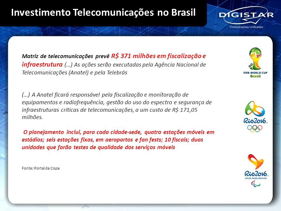 Investimento Telecomunicações no Brasil Matriz de telecomunicações prevê R$ 371 milhões em fiscalização e infraestrutura (...) As ações serão executad