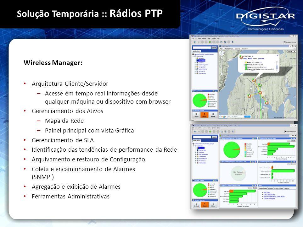 Wireless Manager: Arquitetura Cliente/Servidor – Acesse em tempo real informações desde qualquer máquina ou dispositivo com browser Gerenciamento dos