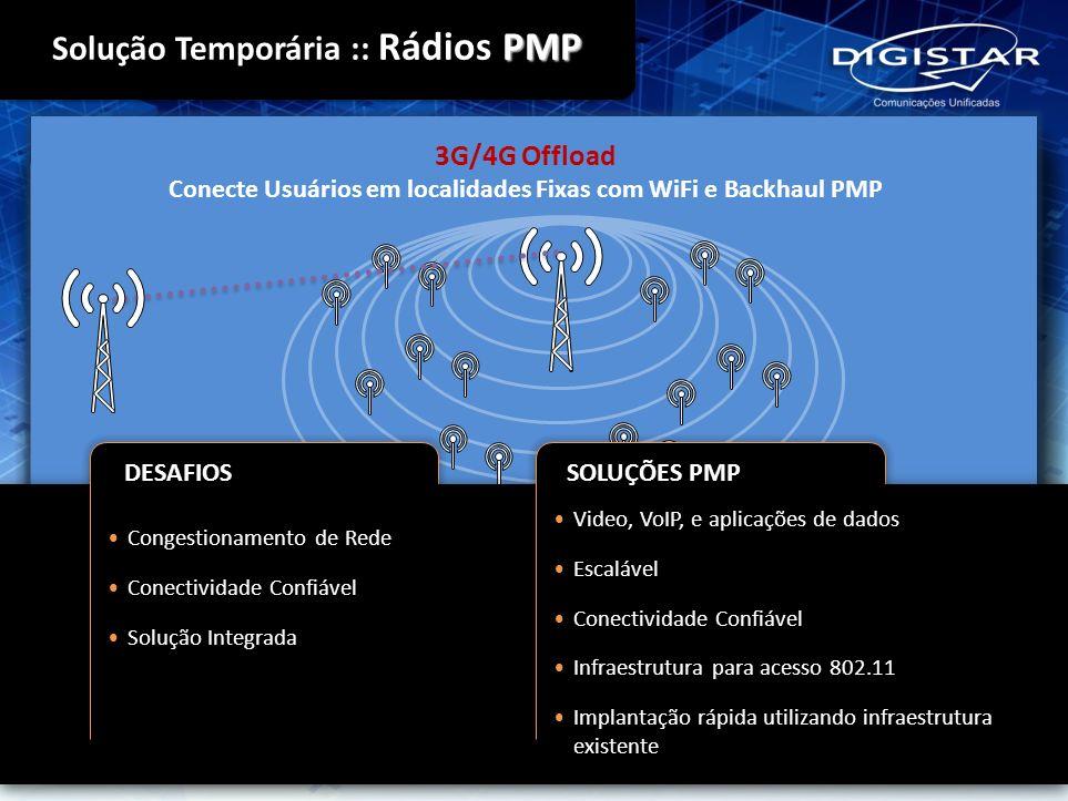 3G/4G Offload Conecte Usuários em localidades Fixas com WiFi e Backhaul PMP Video, VoIP, e aplicações de dados Escalável Conectividade Confiável Infra