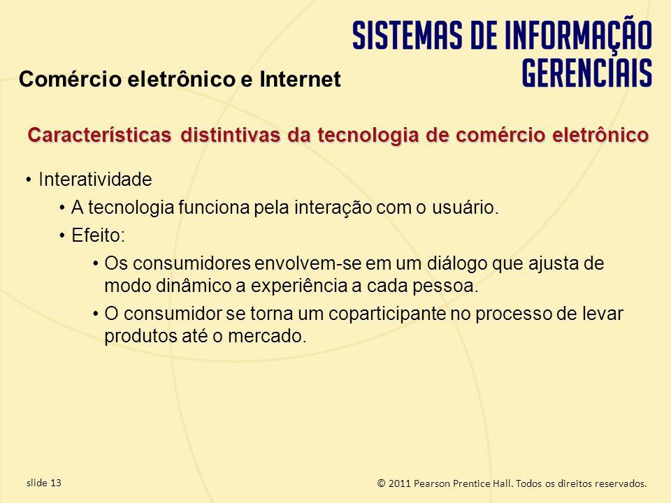 slide 13 © 2011 Pearson Prentice Hall. Todos os direitos reservados. Características distintivas da tecnologia de comércio eletrônico Interatividade A