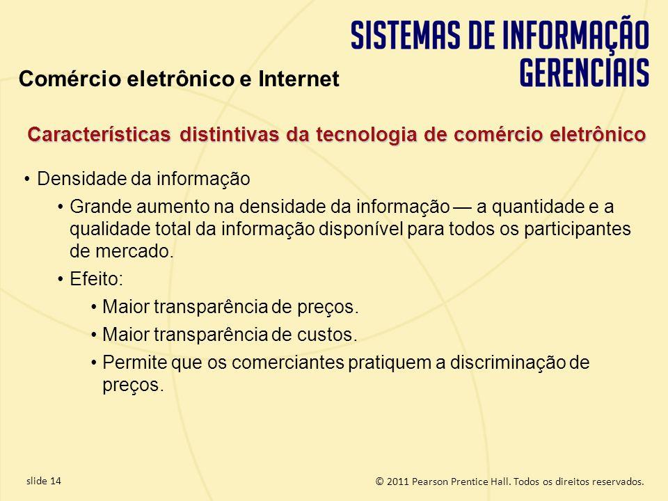 slide 14 © 2011 Pearson Prentice Hall. Todos os direitos reservados. Densidade da informação Grande aumento na densidade da informação a quantidade e