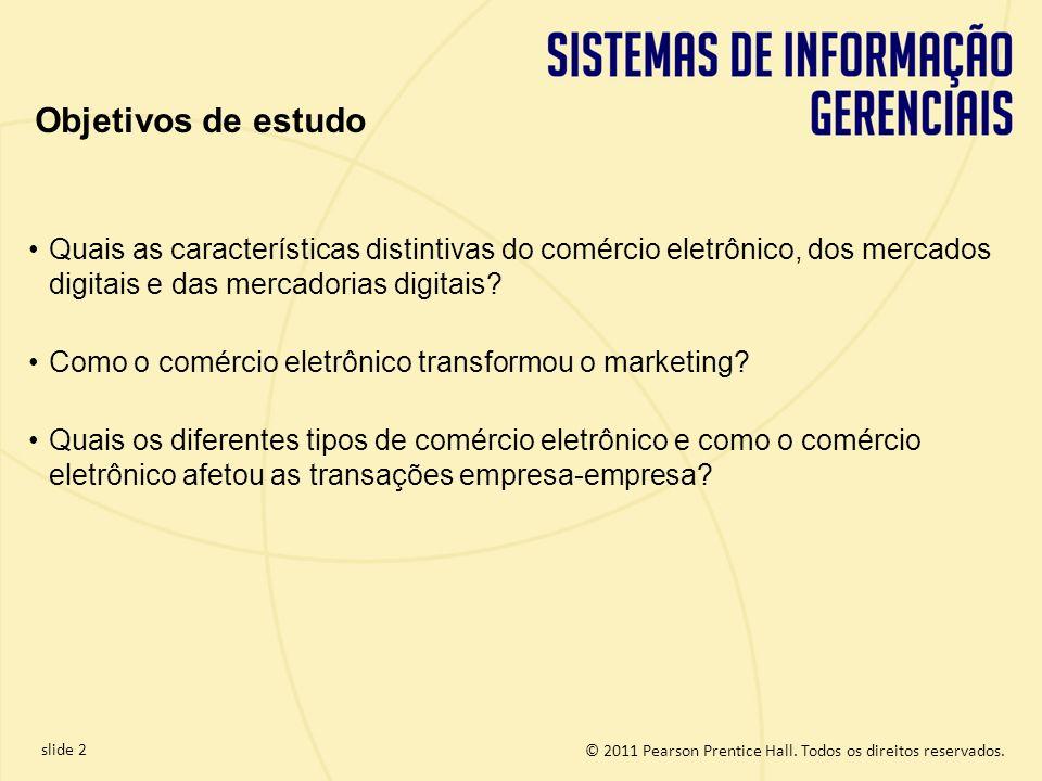 slide 2 © 2011 Pearson Prentice Hall. Todos os direitos reservados. Quais as características distintivas do comércio eletrônico, dos mercados digitais