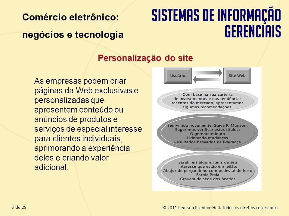 slide 28 © 2011 Pearson Prentice Hall. Todos os direitos reservados. As empresas podem criar páginas da Web exclusivas e personalizadas que apresentem
