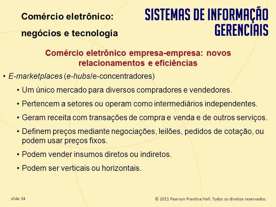 slide 34 © 2011 Pearson Prentice Hall. Todos os direitos reservados. Comércio eletrônico empresa-empresa: novos relacionamentos e eficiências E-market
