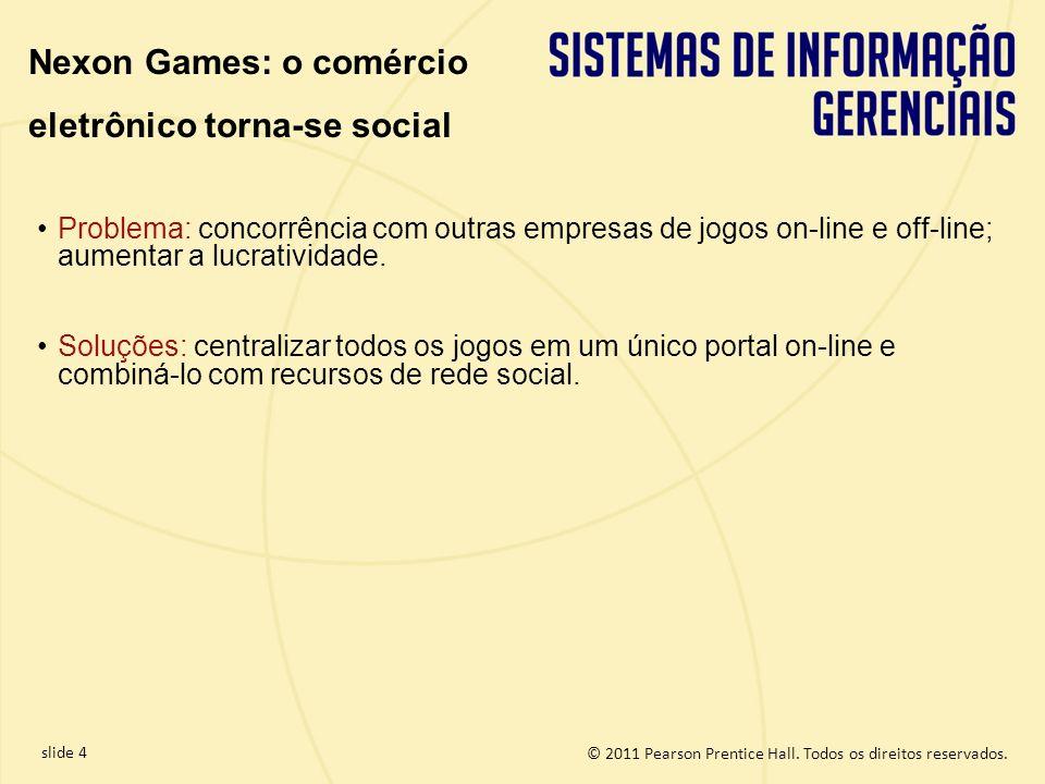 slide 4 © 2011 Pearson Prentice Hall. Todos os direitos reservados. Nexon Games: o comércio eletrônico torna-se social Problema: concorrência com outr
