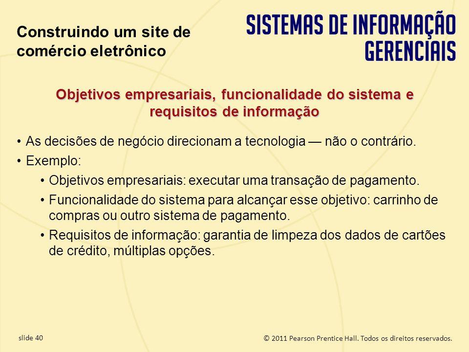 slide 40 © 2011 Pearson Prentice Hall. Todos os direitos reservados. Objetivos empresariais, funcionalidade do sistema e requisitos de informação As d