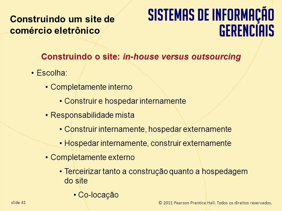 slide 41 © 2011 Pearson Prentice Hall. Todos os direitos reservados. Construindo o site: in-house versus outsourcing Escolha: Completamente interno Co