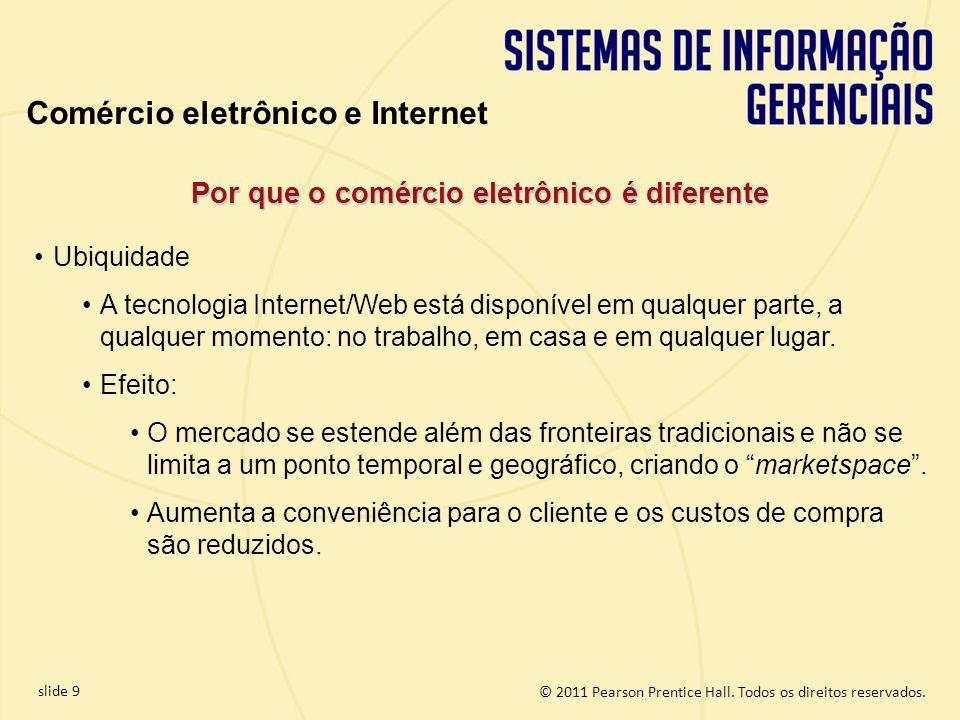 slide 9 © 2011 Pearson Prentice Hall. Todos os direitos reservados. Por que o comércio eletrônico é diferente Ubiquidade A tecnologia Internet/Web est
