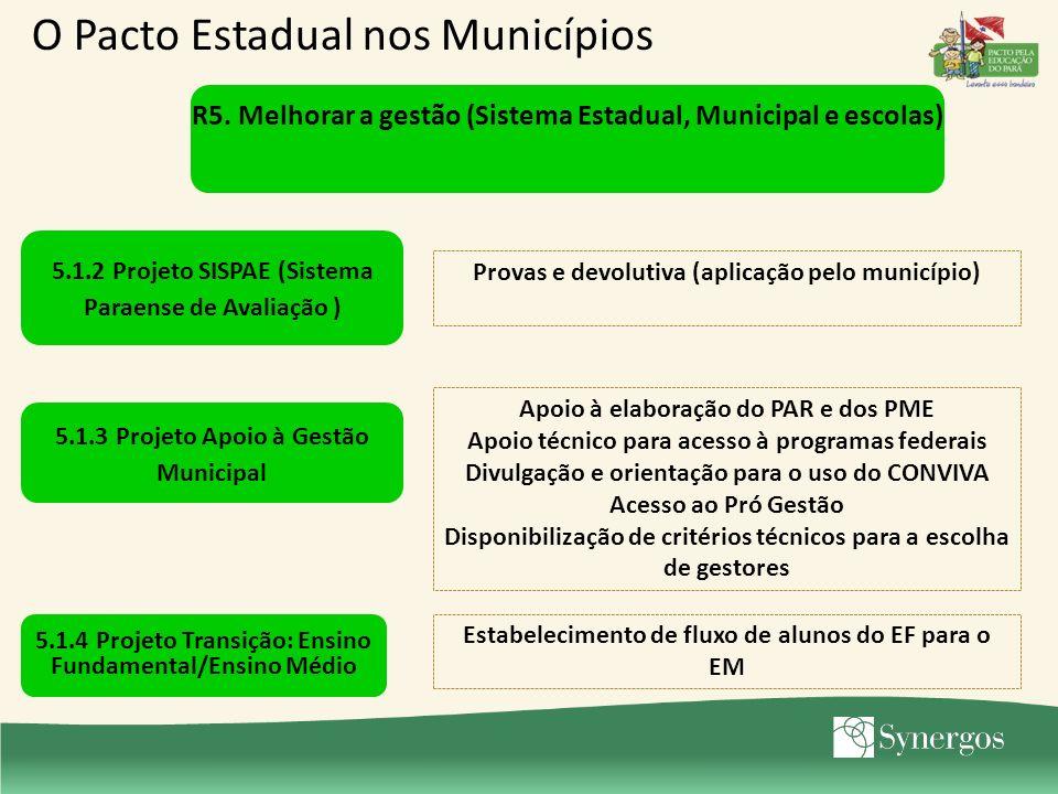 5.1.2 Projeto SISPAE (Sistema Paraense de Avaliação ) Provas e devolutiva (aplicação pelo município) 5.1.3 Projeto Apoio à Gestão Municipal Apoio à el