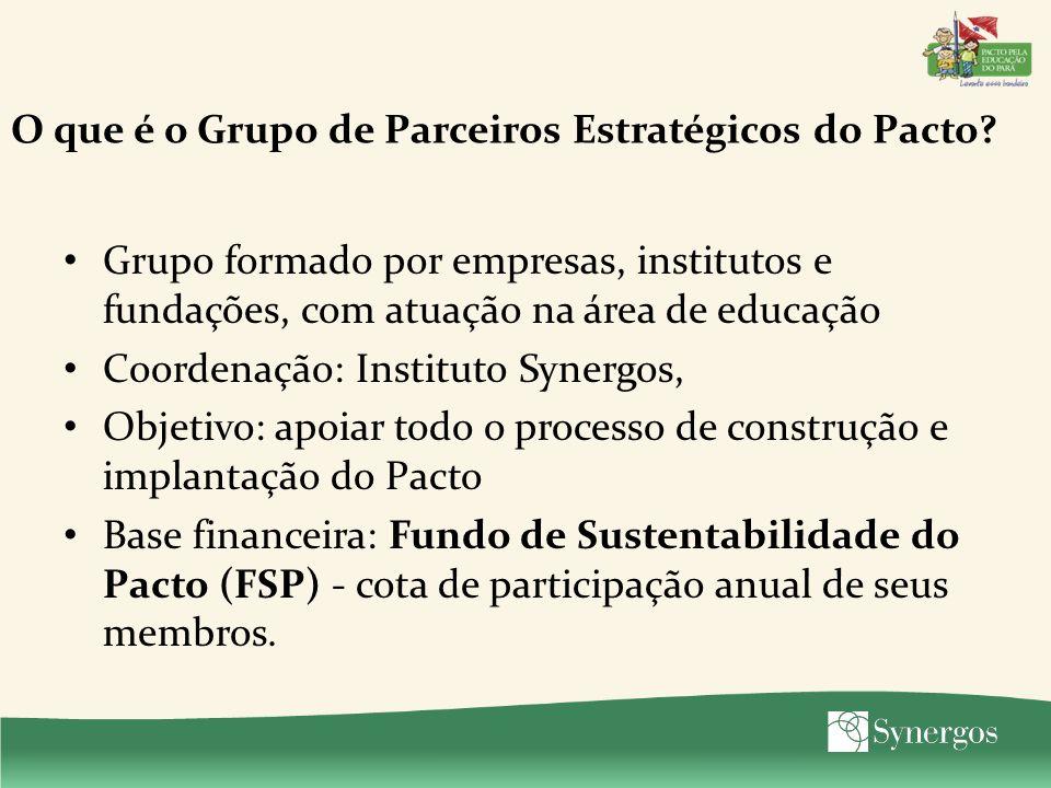 O que é o Grupo de Parceiros Estratégicos do Pacto? Grupo formado por empresas, institutos e fundações, com atuação na área de educação Coordenação: I